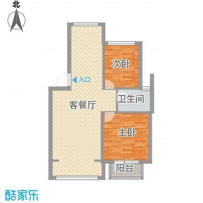 山水鑫苑85.00㎡7号楼A户型2室2厅1卫1厨