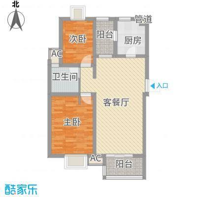 万豪西花苑户型图1B清风和畅户型 2室2厅1卫1厨