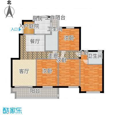 江阴外滩名门168.00㎡江阴外滩名门户型图H户型(6#楼)4室2厅2卫1厨户型4室2厅2卫1厨