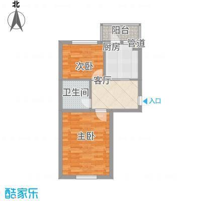 左岸春天57.06㎡左岸春天户型图D户型2室1厅1卫1厨户型2室1厅1卫1厨