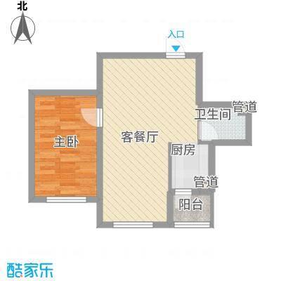 亿达帝景64.00㎡亿达帝景户型图高层B1户型1室2厅1卫1厨户型1室2厅1卫1厨