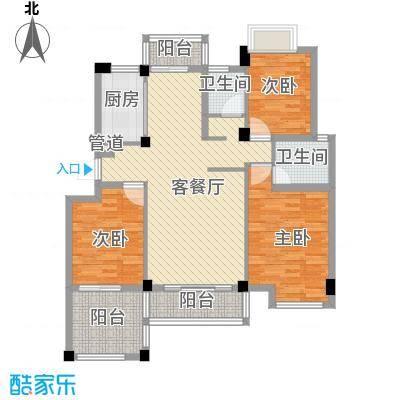 心怡春江花都126.24㎡HB2-2户型平面图户型3室2厅2卫1厨