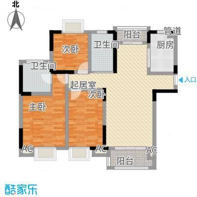 大唐金城126.41㎡大唐金城户型图7#楼F户型3室2厅2卫1厨户型3室2厅2卫1厨