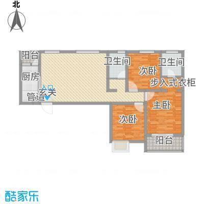 金水湾花园户型图三室两厅两卫4 3室2厅2卫1厨
