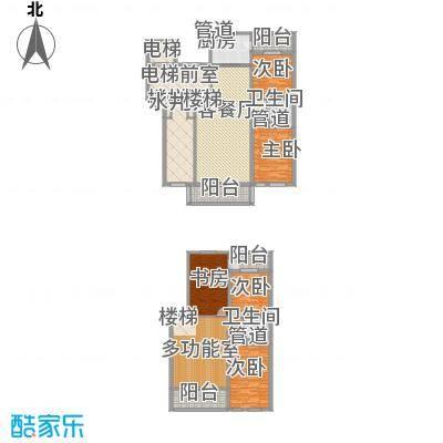 盛世香湾户型图电梯复式洋房F2户型 5室2厅2卫