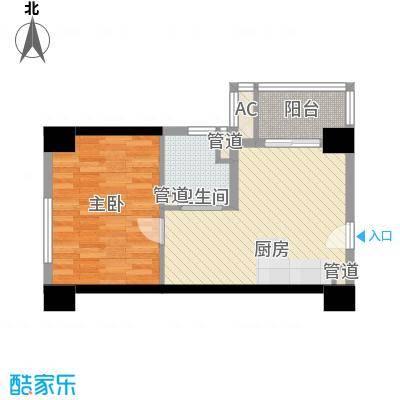 通商华富国际广场户型图酒店式公寓K户型 1室2厅1卫1厨
