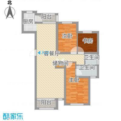 钻石湾地中海阳光户型图小高层B户型图 3室2厅2卫1厨