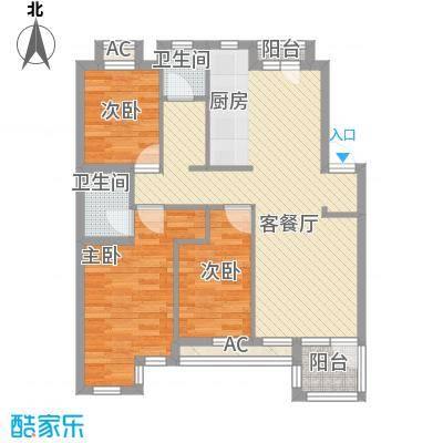 钻石湾地中海阳光户型图多层标准层D户型图 3室2厅2卫2厨