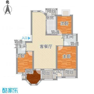 中南军山半岛户型图23、25#楼花园洋房B户型 3室2厅2卫1厨