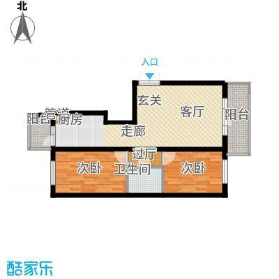 金丰优豪斯62.26㎡金丰优豪斯户型图户型B-32室1厅1卫1厨户型2室1厅1卫1厨