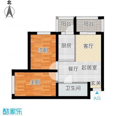 幸福里49.55㎡幸福里户型图高层B户型2室2厅1卫1厨户型2室2厅1卫1厨