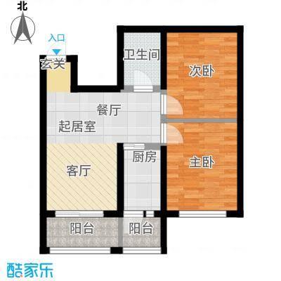 幸福里57.57㎡幸福里户型图L户型2室2厅1厨户型2室2厅1厨