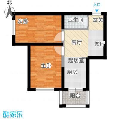 幸福里46.04㎡幸福里户型图M户型2室2厅1卫1厨户型2室2厅1卫1厨