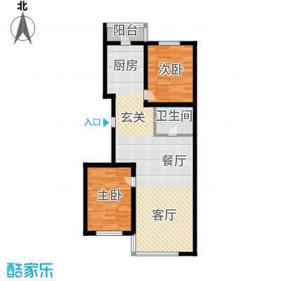 绿海华庭75.79㎡绿海华庭户型图高层D户型2室2厅1卫1厨户型2室2厅1卫1厨