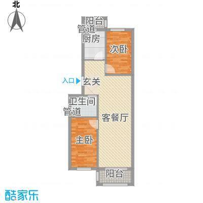 怡园绿景74.66㎡怡园绿景户型图A、B栋标准层户型C2室2厅1卫1厨户型2室2厅1卫1厨