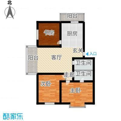 绿海华庭83.58㎡绿海华庭户型图多层G户型3室1厅2卫1厨户型3室1厅2卫1厨