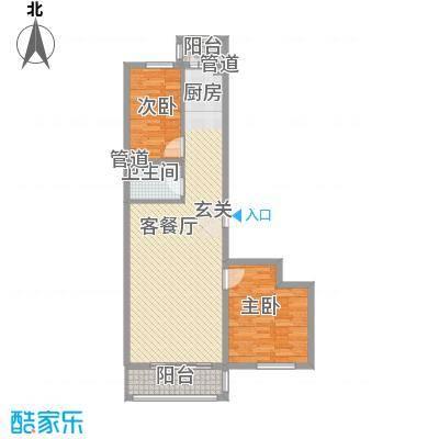 怡园绿景81.12㎡怡园绿景户型图A、B栋标准层户型D2室2厅1卫1厨户型2室2厅1卫1厨