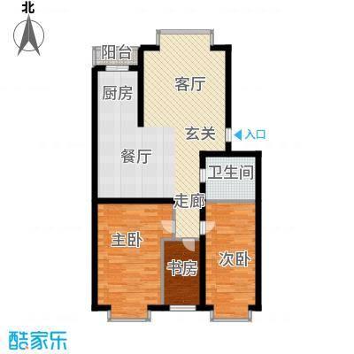 绿海华庭84.12㎡绿海华庭户型图多层H户型3室1厅1卫1厨户型3室1厅1卫1厨