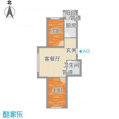 怡园绿景61.66㎡怡园绿景户型图A、B栋标准层户型B2室2厅1卫1厨户型2室2厅1卫1厨