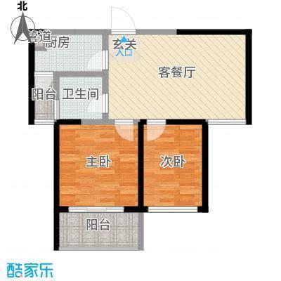 景隆现代城74.15㎡景隆现代城户型图T1户型2室2厅1卫1厨户型2室2厅1卫1厨