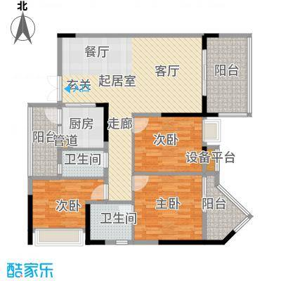 欧浦皇庭111.91㎡欧浦皇庭户型图1-3栋标准层03-04单元3室2厅2卫1厨户型3室2厅2卫1厨