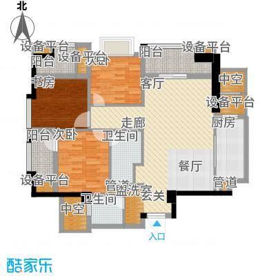万科广场105.00㎡5号楼C户型01、02单元户型3室2厅2卫