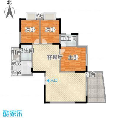 远大生态风景二期栖景湾127.00㎡4-7栋偶数层H1户型3室2厅2卫1厨