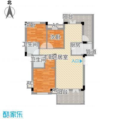 中铁・逸都国际107.00㎡B-4户型3室2厅2卫1厨