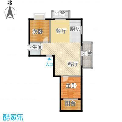 以勒山水国际养生社区82.06㎡K户型2室1厅1卫