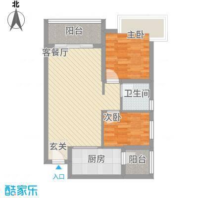 祈福海湾75.18㎡B户型2室2厅1卫1厨