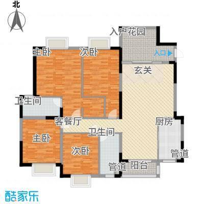 水岸名都163.00㎡水岸名都户型图F14室2厅2卫户型4室2厅2卫