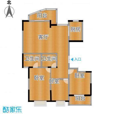 江海皇都137.50㎡f2户型1厅2卫1厨