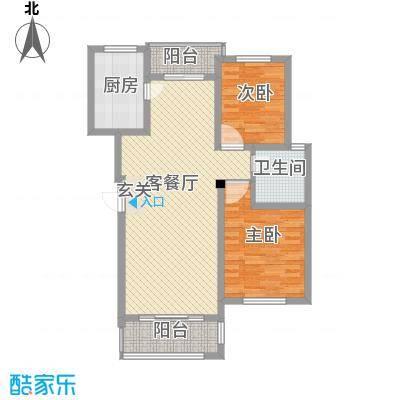 金水湾花园户型图F户型 2室2厅1卫1厨