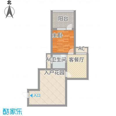 龙潭・温泉印象户型图户型B 1室2厅1卫