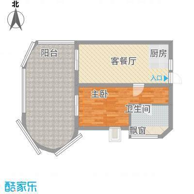 平海逸龙湾84.00㎡平海逸龙湾户型图9J型1室1厅1卫1厨户型1室1厅1卫1厨