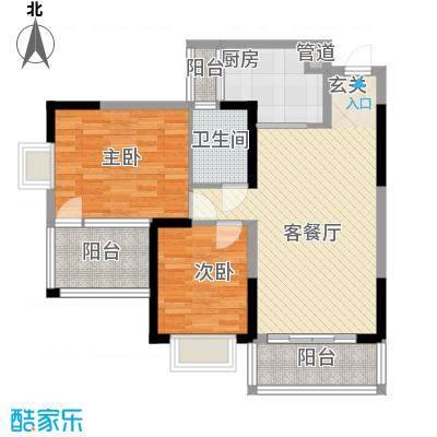 水岸名都90.00㎡水岸名都户型图J22室2厅1卫户型2室2厅1卫