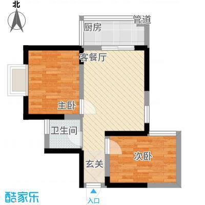 明坊59.73㎡明坊户型图3#楼D3户型标准层2室2厅1卫1厨户型2室2厅1卫1厨