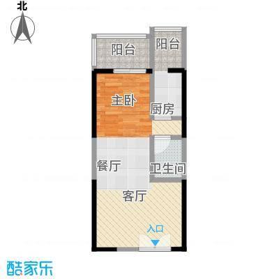 海�台北湾50.39㎡16#楼A标准层户型1厅1卫1厨