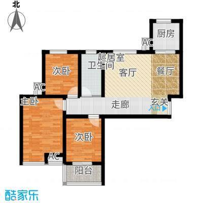 芊域阳光99.90㎡芊域阳光户型图限价商品房F户型3室2厅1卫1厨户型3室2厅1卫1厨