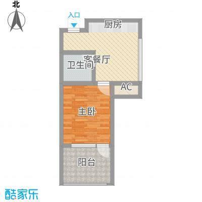 龙潭・温泉印象户型图户型K 1室1厅1卫