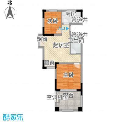山泉海户型图二期8#楼B1-1D户型图 2室1厅1卫1厨