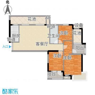万科金域蓝湾112.00㎡万科金域蓝湾户型图3B创新户型3室2厅1卫1厨户型3室2厅1卫1厨