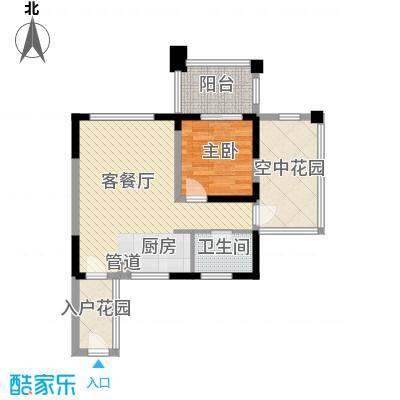 博鳌椰风海岸57.78㎡博鳌椰风海岸户型图D2栋奇数户型1室1厅1卫1厨户型1室1厅1卫1厨