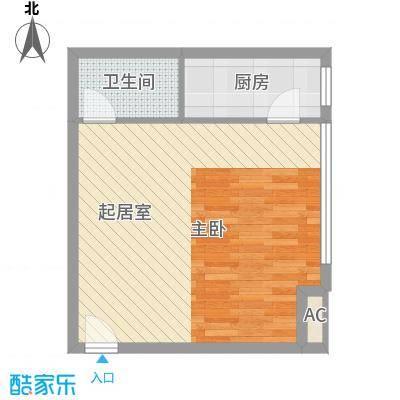 博鳌左岸54.26㎡博鳌左岸户型图温馨阁C3户型图1室1厅1卫1厨户型1室1厅1卫1厨