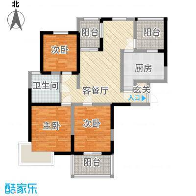 书香院131.69㎡景致人生户型3室2厅1卫1厨