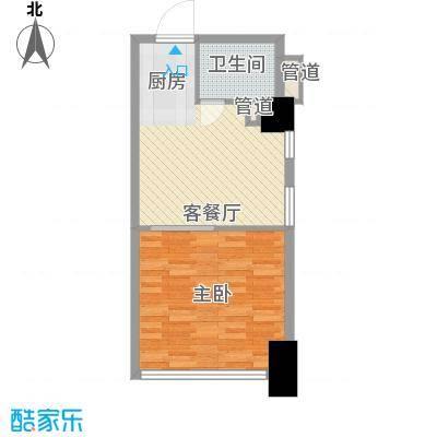 公园壹号国际公寓59.57㎡尊寓C户型1室2厅1卫1厨