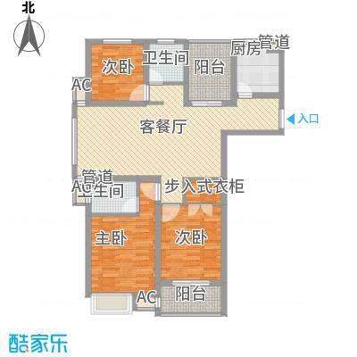 锦海星城二期锦海尚城户型图3#楼、6#楼尚品C2户型 3室2厅2卫1厨