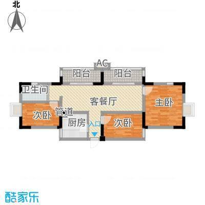 奥林匹克花园103.27㎡2.3期C4户型3室2厅1卫1厨