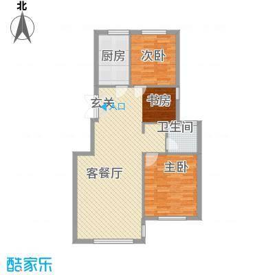 绿城苑3室户型3室2厅1卫1厨