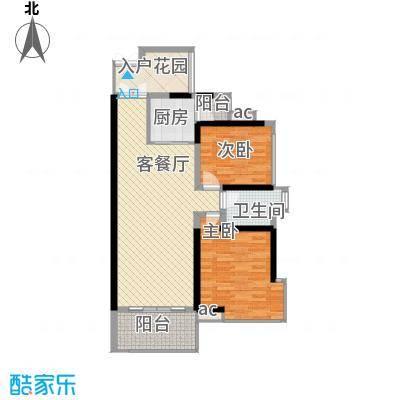 锦绣御园户型图1栋C、D户型三-三十一层奇数层平面图1 2室2厅1卫1厨